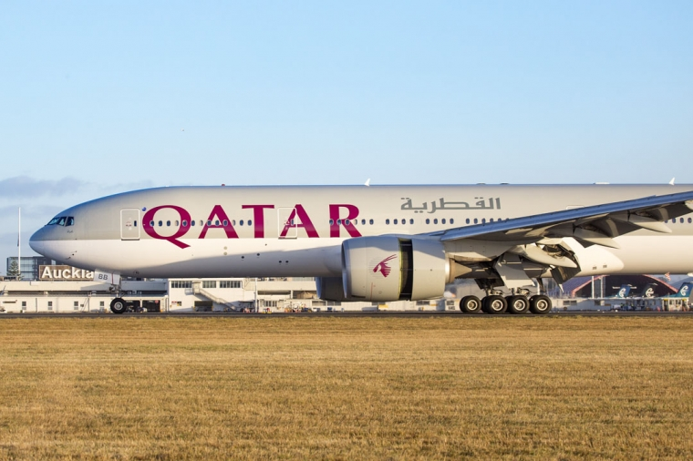 Qatar Airways inaugural flight arrives from Doha.